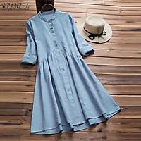 ZANZEA Women Vintage Long Sleeve Shirt Dress Autumn A-Line Mini Dress Tops Plus