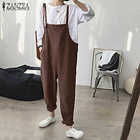 ZANZEA Women Cotton Strappy Bib Cargo Pants Dungaree Wide Legs Plain Overalls