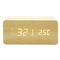 Đồng hồ để bàn giả gỗ LED CAO CẤP - Sạc không dây - Nhiệt kế - Báo thức - Cảm ứng âm thanh (giao màu ngẫu nhiên)