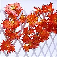 5 dây lá phong đỏ trang trí siêu đẹp dài 2m - dây lá giả trang trí nhà cửa, sự kiện