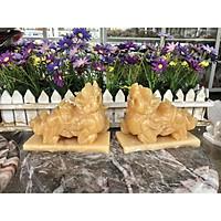 Cặp Tỳ Hưu phong thủy đá Ngọc hoàng long có đế - Dài 15 cm