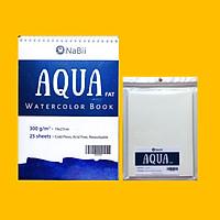 Combo Sổ vẽ màu nước chuyên nghiệp Nabii Aqua Fat A4 và tệp giấy A5 lẻ tách sẵn tờ