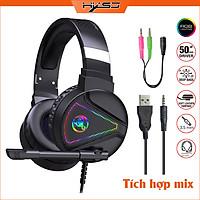 Tai nghe chụp tai Gaming tích hợp Mix HXSJ F16 RGB Jac 3.5mm âm thanh 3D Bass cực đã chuyên dùng nghe nhạc, chơi game - Hàng chính hãng