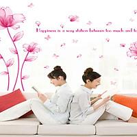 decal dán tường hoa pha lê hồng hạnh phúc sk9200