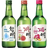Set 3 chai rượu soju Hàn Quốc 13% - 16.9%: Fresh + Bưởi + Mận Có Hộp