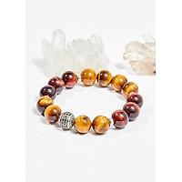 Vòng tay phong thủy đá mắt hổ vàng nâu charm tròn 12mm mệnh thổ , kim - Ngọc Quý Gemstones
