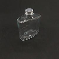 Chai thủy tinh 250ML VUÔNG – Kiểu DẸT nắp Nhôm - Vỏ Chai 250ML, bình thủy tinh trong suốt
