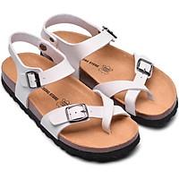 Sandal xỏ ngón trắng đế trấu 2132NAM