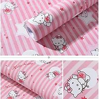 Decal giấy dán tường kitty sọc hồng khổ rộng 45cm có sẵn keo
