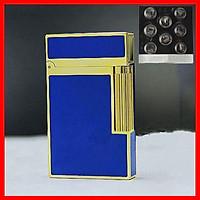 Combo Hộp Quẹt Bật Lửa Gas Đá D37 Sơn Mài Trơn Nền Xanh Viền Vàng ( Bạc ) + Tặng Vỉ Đá Chuyên Dụng Cho Bật Lửa