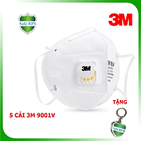 Combo 5 cái khẩu trang 3M 9001V cao cấp , chính hãng , có van thở , kháng khuẩn , chống bụi siêu mịn PM2.5 , màu trắng , theo tiêu chuẩn : AS/NZS P2, EN 143:2000 , tặng móc treo khóa