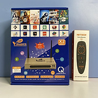 Combo android tv box Vinabox X2 2021 và Điều khiển giọng nói NETBOX V2- Hàng Chính Hãng