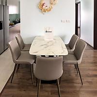 Bộ bàn ăn mặt đá trắng hoa cương T261