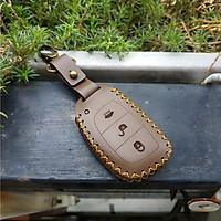Bao da chìa khóa thông minh Hyundai I10, Elantra, Tucson 2015, Sonata 2017 smartkey 3 nút da bò handmade