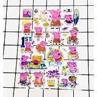 Hình Dán Bé Heo Peppa sticker Nổi 3D set 3 bảng ( 72 miếng ảnh )