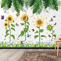 Decal dán tường hoa mặt trời combo lá xanh hoa và hàng rào sinh động dán được cửa kính, gỗ GDTCB18