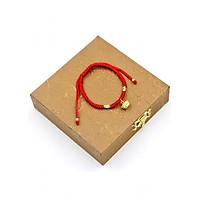 Vòng tay tết dây phong thủy thỏi vàng TD7 kèm hộp gỗ - Vòng đeo tay chỉ đỏ may mắn