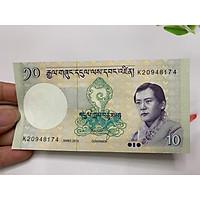 01 tờ tiền 10 Ngultrum Bhutan - tặng phơi nylon bảo quản tiền
