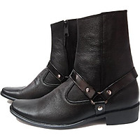 Giày Boots Nam Kéo Khóa Cao Cổ Da Bò Thật B96