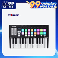 WORLDE Orca mini25 Portable 25-Key USB MIDI Keyboard Controller with 16 RGB Backlit Trigger Pads 8 Assignable Control