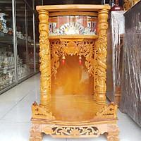 Bàn thờ thần tài ông địa gỗ gõ đỏ ngang 50 cm