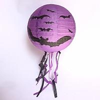 Đèn lồng giấy trang trí Halloween màu tím mẫu dơi