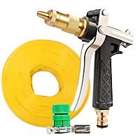 Bộ dây vòi xịt nước rửa xe, tưới cây , tăng áp 3 lần, loại 20m 206236 đầu đồng, đai, nối vòi vàng