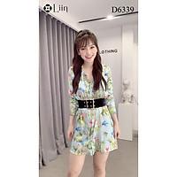 Đầm Sơ Mi nữ cao cấp, váy dài tay họa tiết Hổ Trắng cá tính LINBI D6339