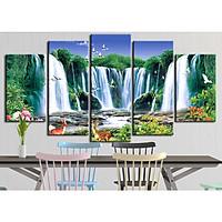 Bộ 5 tranh canvas treo tường phong cảnh thác nước - B5T038