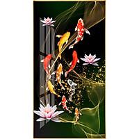 Tranh bóng kiếng Cửu Ngư Quần Hội bên hoa sen BK_0056