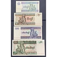 Set 4 tờ tiền thế giới 1 5 10 20 Kyats của đất nước Myanmar sưu tầm , Mới 100% UNC