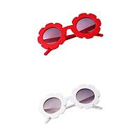 2Pcs Kids Vintage Flower Sunglasses UV400 Summer Holiday For Girls Boys