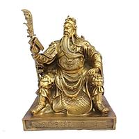 Tượng Quan Công Ngồi Đọc Sách bằng Đồng Thau cao 25cm nặng 2400g -Phong thủy mang lại sự thịnh vượng, trí tuệ và tiền bạc trong kinh doanh