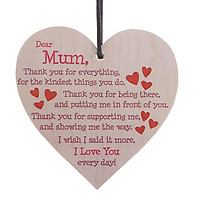 Thank You Mum Wine Bottle Wooden Tags Mothers Day Hanging Gift Label w/ Rope