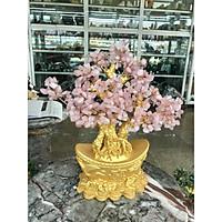 Cây Tài Lộc phong thủy đá thạch anh hồng với đế hình thỏi vàng để bàn làm việc, bàn thờ thần tài - Cao 30 cm