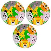 Bộ 3 đĩa giấy dùng một lần hình động vật (bộ 6 đĩa) - Hàng nội địa Nhật