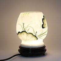 Đèn xông tinh dầu MD024 Kepha. Gốm bát tràng cao cấp. Hoạ tiết hoa sen màu xanh. Đế gỗ chắc chắn, an toàn