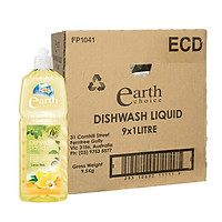 Thùng nước rửa chén không khô da tay gốc thực vật hương chanh Earth Choice Úc 1L x 9