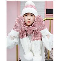 Bộ mũ len nữ cao cấp kèm khăn+ găng tay phong cách Hàn