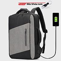 Balo laptop  đa năng USB sạc công suất lớn phản quan Đen Xám Phối Xéo chống nước kép vào vali FG43 tặng móc khóa nam