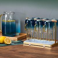 Kệ úp cốc ly inox - Giá treo cốc - khay úp cốc inox mạ đồng cao cấp KC02
