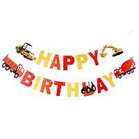 Dây chữ Happy Birthday trang trí sinh nhật hình xe cơ giới