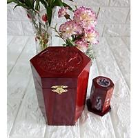 Hộp đựng gói trà gỗ hương trạm mặt tích chim hoa kèm hộp tăm hàng kỹ chốt đinh bản lề - CHTT12
