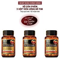 Bộ sản phẩm 3 hộp viên uống bổ tim nhập khẩu chính hãng New Zealand GO CO Q10 160mg (30 viên) giảm lão hóa tim mạch, tai biến tim mạch; giảm cholesterol máu; điều hòa huyết áp; tăng miễn dịch và giúp cơ thể khỏe mạnh