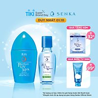 Combo Sữa chống nắng Senka Perfect UV Milk 40ml và Nước tẩy trang sạch thoáng Senka A.L.L.Clear Formula Fresh 70ml