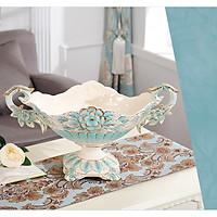Đĩa đựng hoa quả họa tiết hoa văn màu xanh bằng men sứ cao cấp phong cách tân cổ điển sang trọng, đẳng cấp