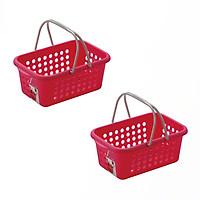 Bộ 2 Giỏ nhựa đựng đồ có quay xách cỡ trung - màu hồng - Hàng Nội Địa Nhật