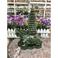 Tượng Long Quy ( Rùa đầu Rồng ) cõng tháp văn xương 9 tầng phong thủy cầu công danh tài lộc đá ngọc Ấn Độ - Dài 20 cm