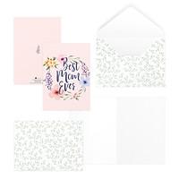 Thiệp tặng mẹ ngày của mẹ ngày phụ nữ ngày Vu Lan 12,5x17,6 BEST MOM EVER SDstationery PURPLE hoa màu nước chữ viết tay