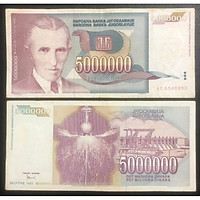Tiền xưa Nam Tư 5.000.000 dinara, quốc gia không còn tồn tại